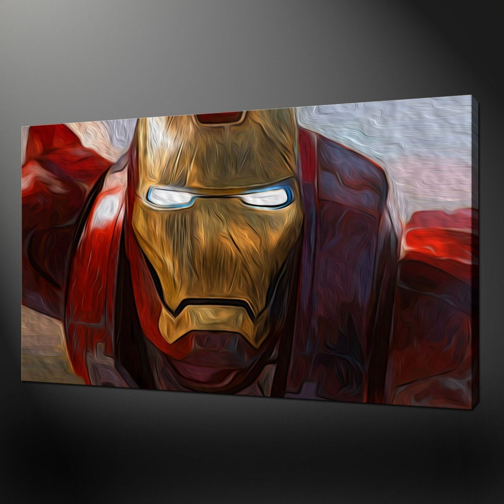 Super Handsome Iron Man Canvas Art Print Poster Wall ... |Man Canvas Print