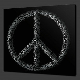 Peace Typography Canvas Print Art