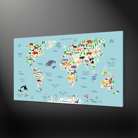 ANIMALS MAP OF THE WORLD CANVAS PICTURE PRINT
