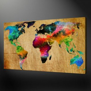 ABSTRACT WORLD MAP CANVAS WALL ART PICTURES PRINT