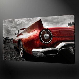 CLASSIC RED CAR CANVAS PRINT PICTURE WALL ART