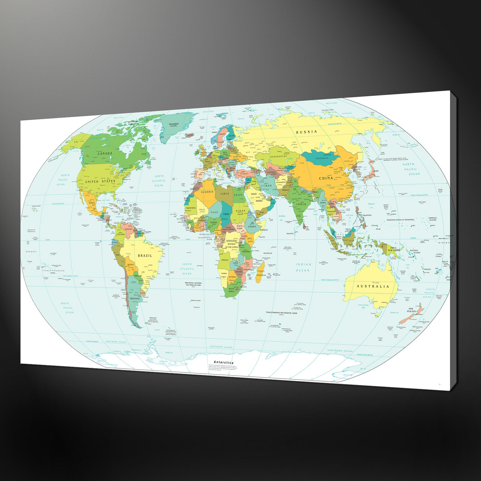 WORLD MAP CANVAS WALL ART PICTURE PRINT - Us map canvas wall art