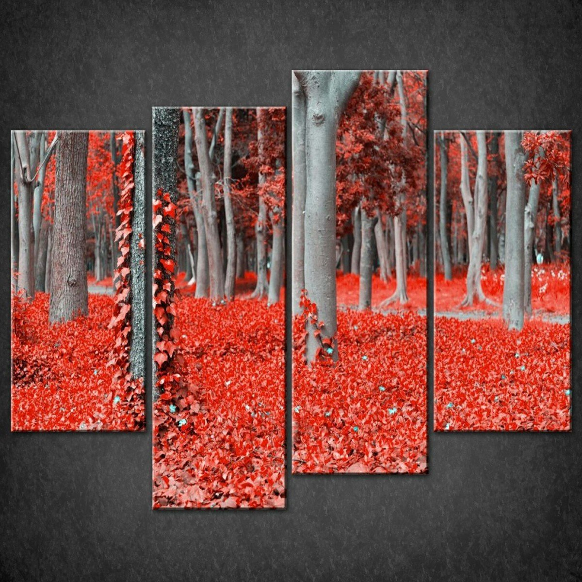 Wall Art Canvas Red : Red forest canvas print wall art