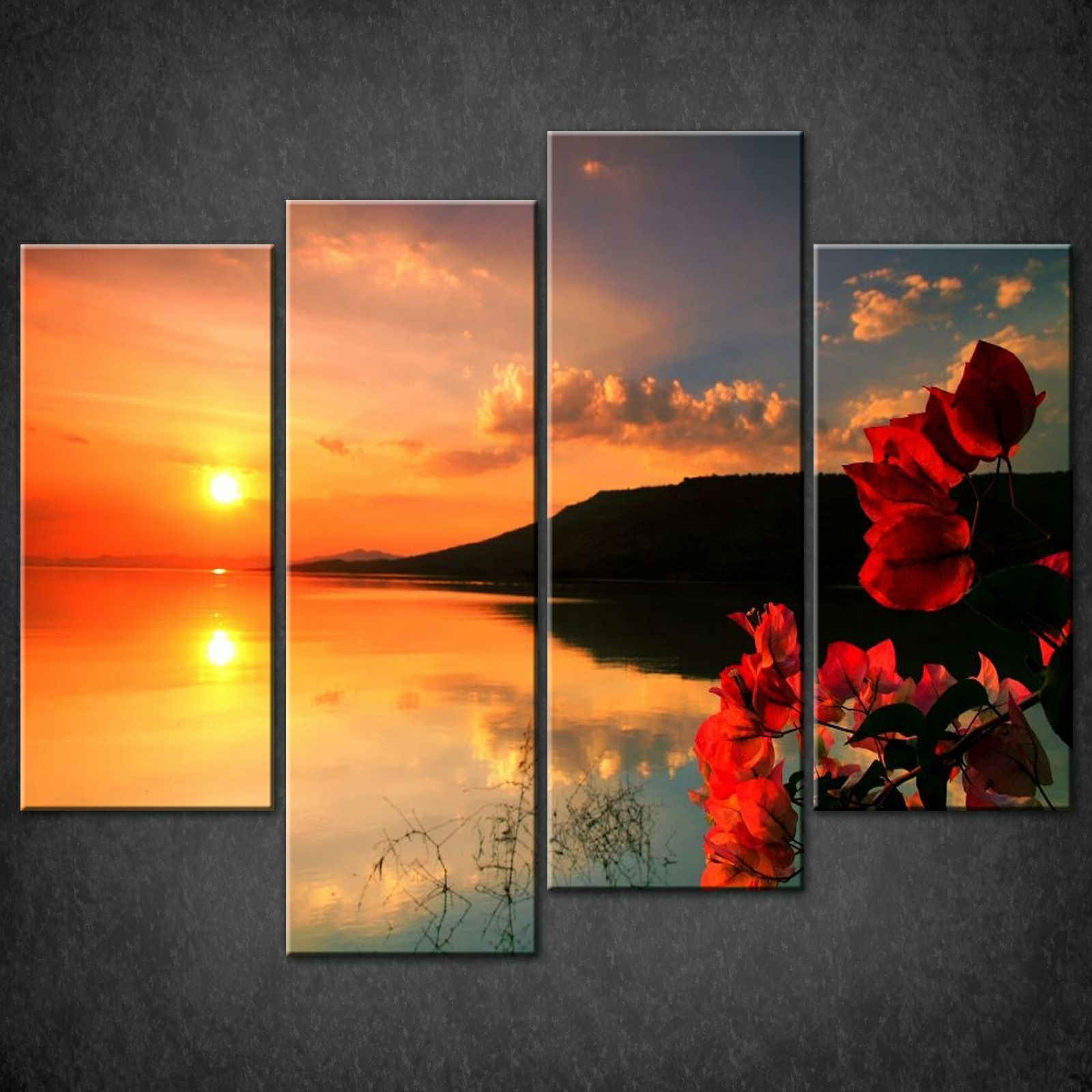 Wall Art Split Canvas : Red calm sunset split canvas print picture wall art