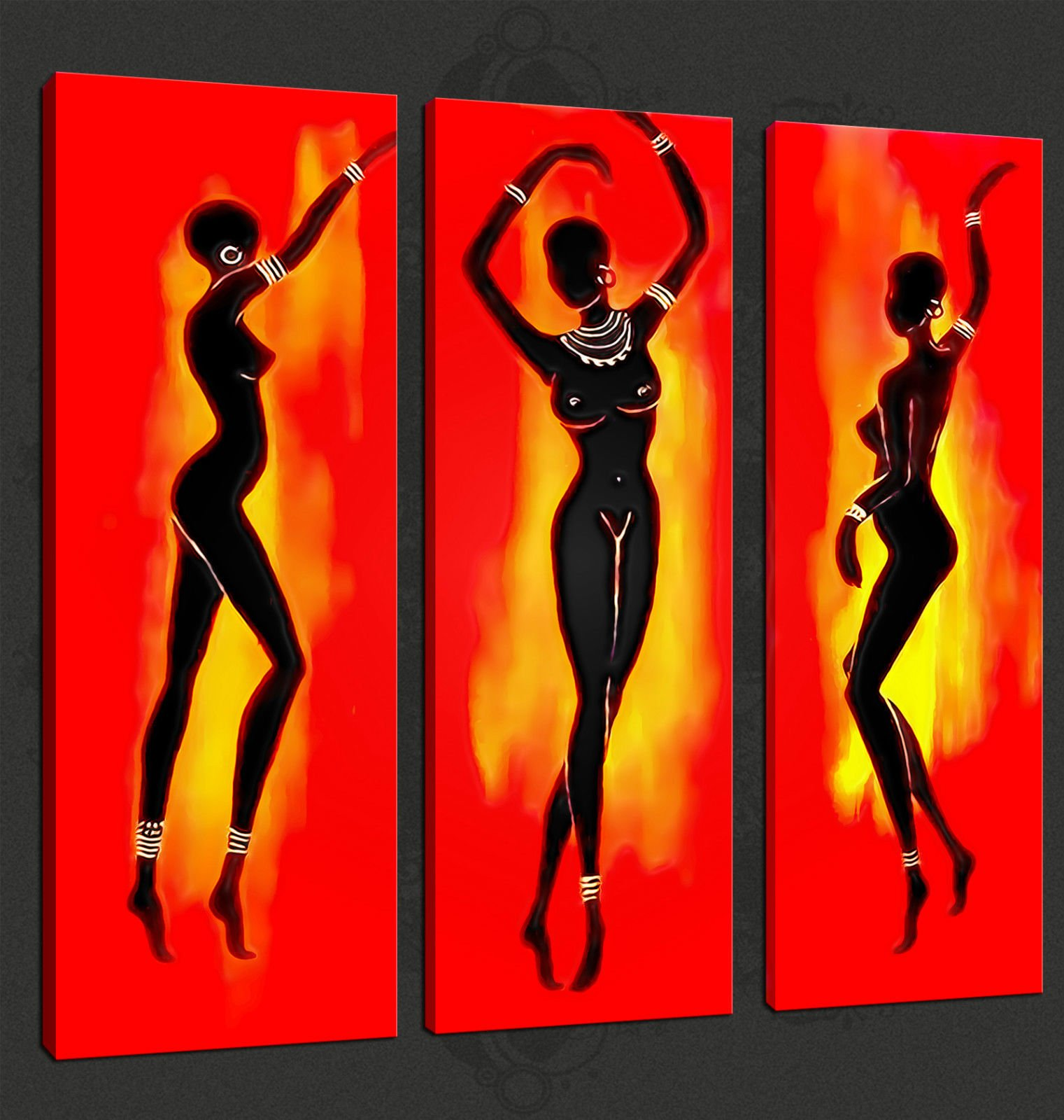 ABSTRACT AFRICAN DANCERS 3 PANELS CANVAS PRINT PICTURE
