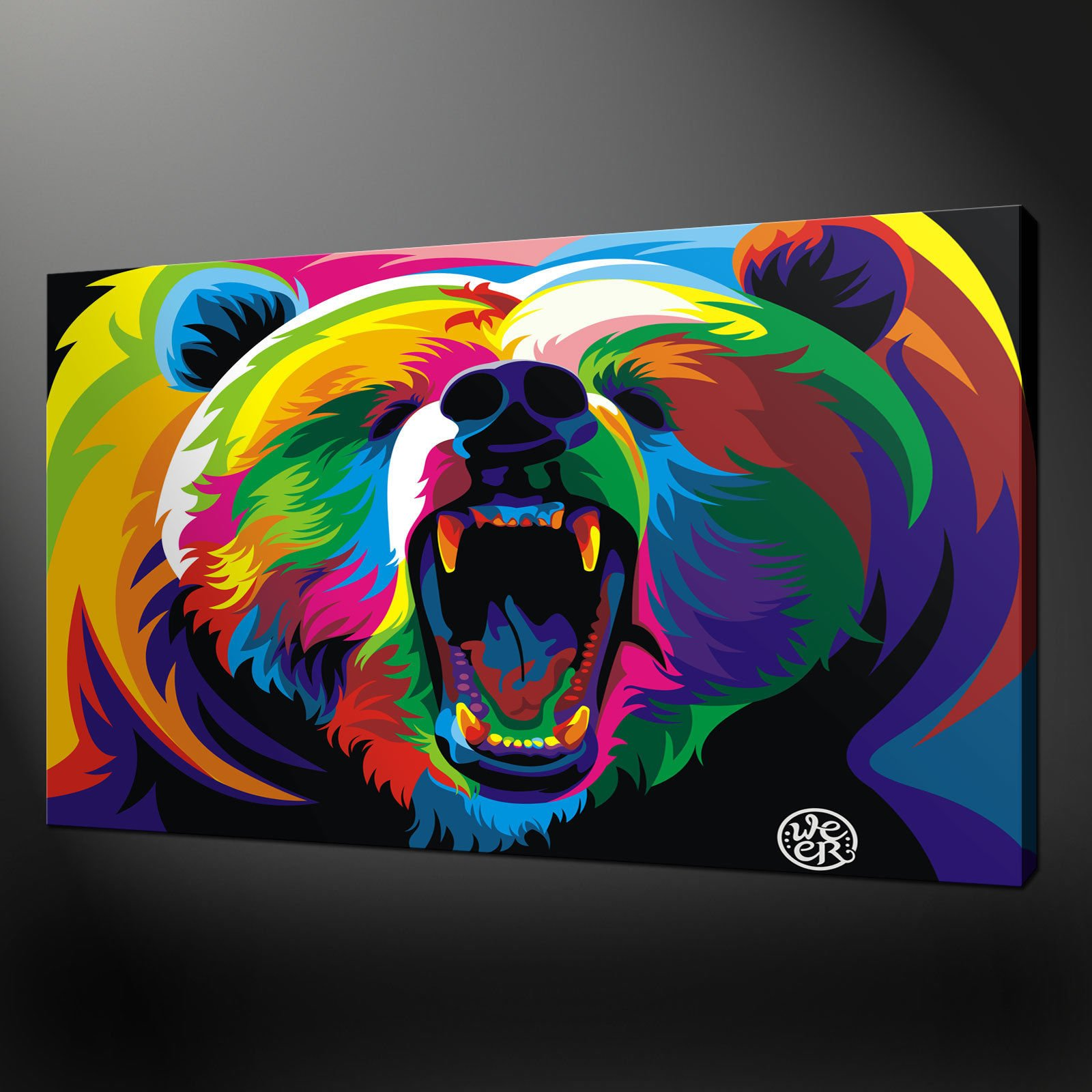 ABSTRACT BEAR PREMIUM QUALITY CANVAS PRINT PICTURE WALL ART DESIGN FREE UK PP