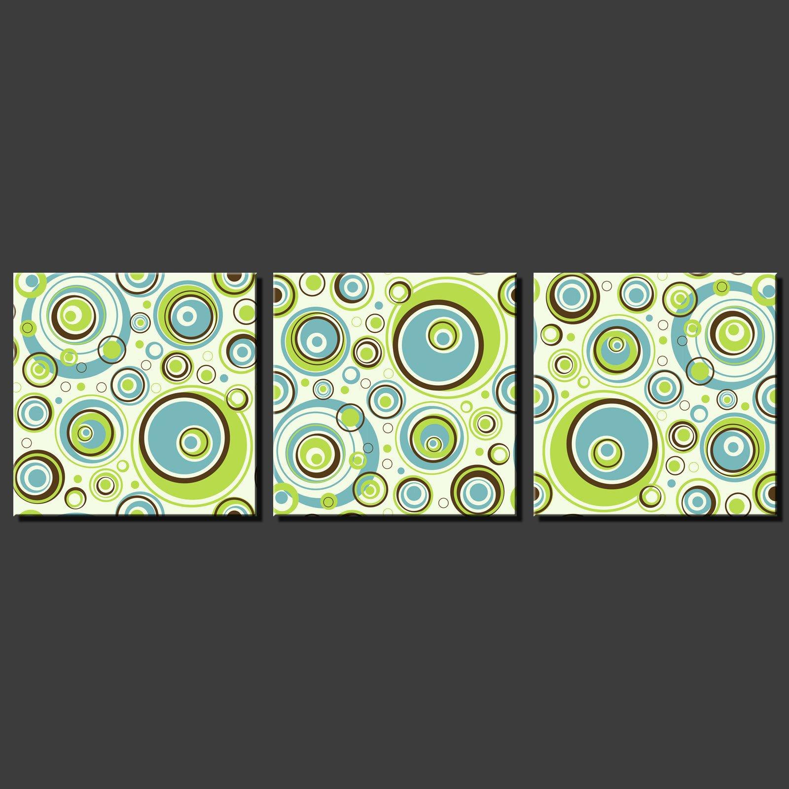 Elegant ABSTRACT CIRCLE MODERN DESIGN 3 PANELS SPLIT CANVAS WALL ART PICTURES PRINTS