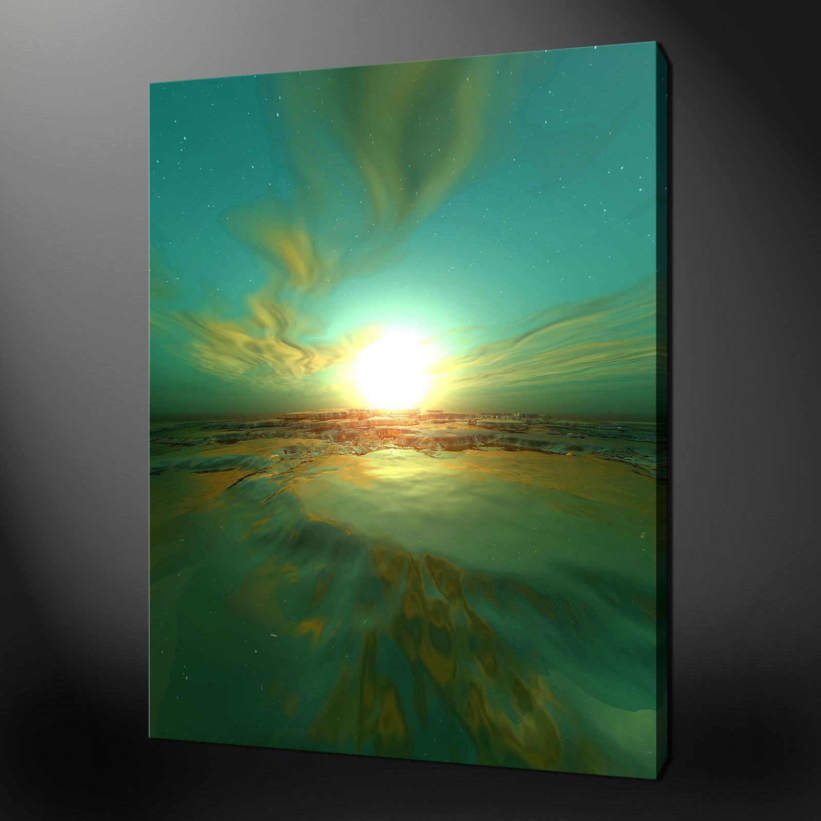ABSTRACT GREEN MOON SUNSET MODERN DESIGN CANVAS PRINT 20 x 16 Inch