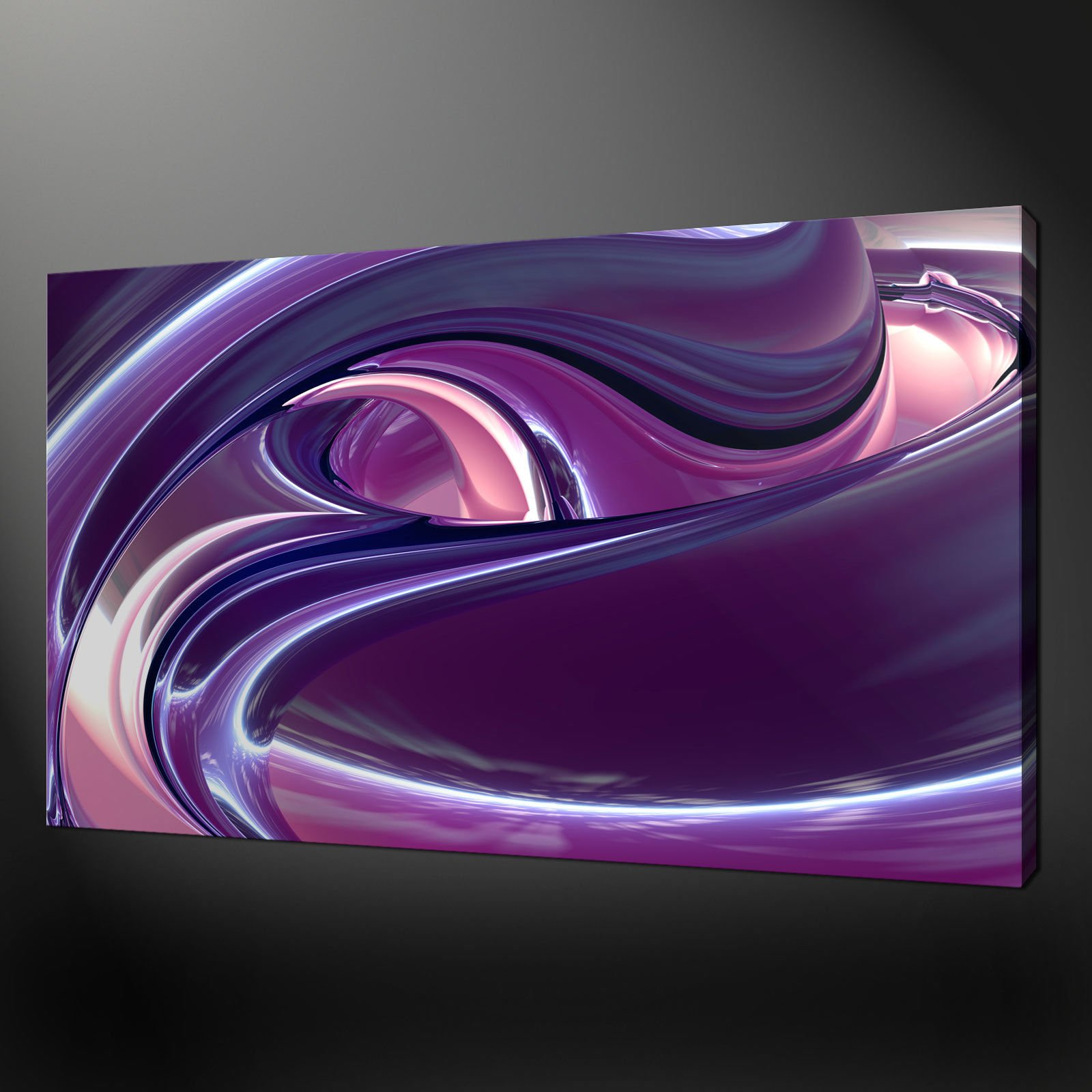 Marvelous ABSTRACT PURPLE PINK WAVES CANVAS WALL ART ...