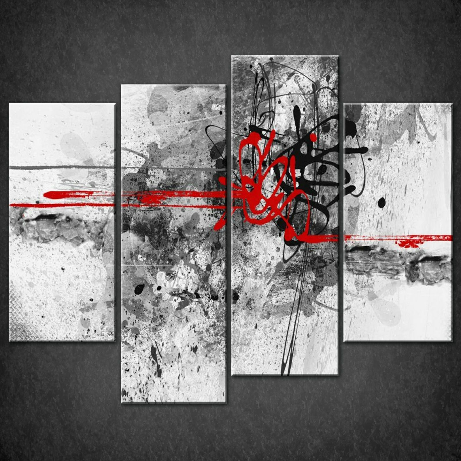 Wall Art Canvas Red : Abstract red lines split canvas wall art pictures prints
