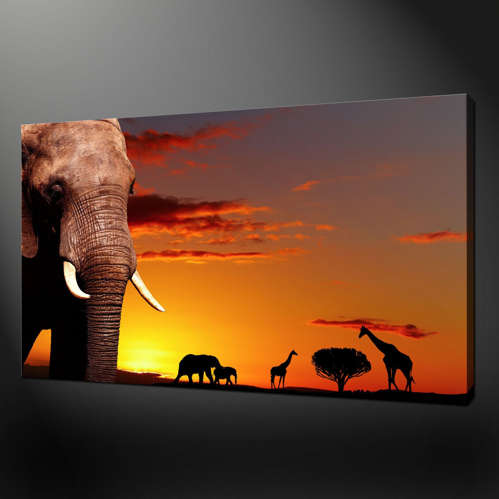 AFRICAN ANIMALS SUNSET CANVAS WALL ART ... & Canvas print pictures. High quality Handmade Free next day delivery.