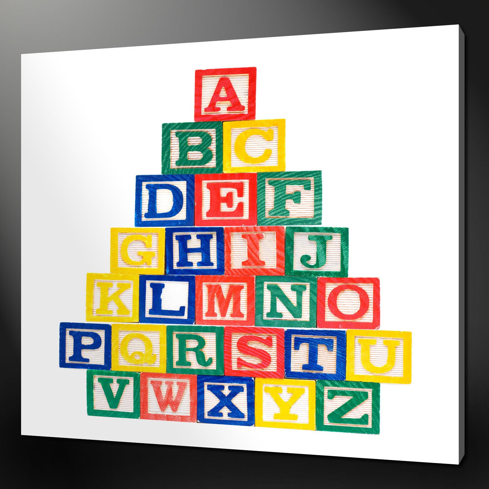 "ALPHABET BLOCKS KIDS DESIGN MODERN WALL ART CANVAS PRINT 12/""x12/"" FREE UK P/&P"