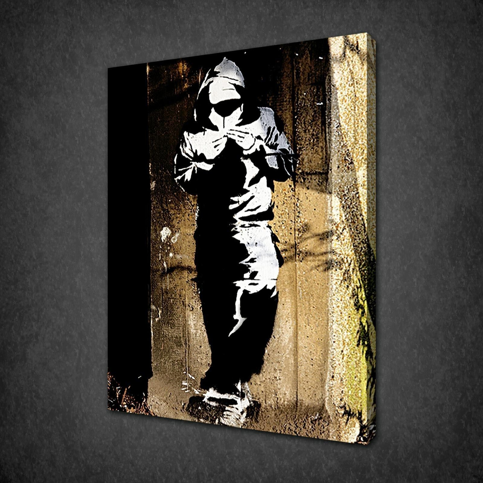 Banksy canal hoodie graffiti canvas wall art pictures prints