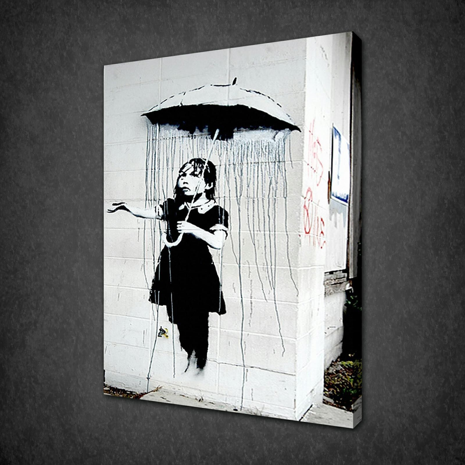 BANKSY UMBRELLA GIRL CANVAS WALL ART PICTURES PRINTS VARIETY OF SIZES