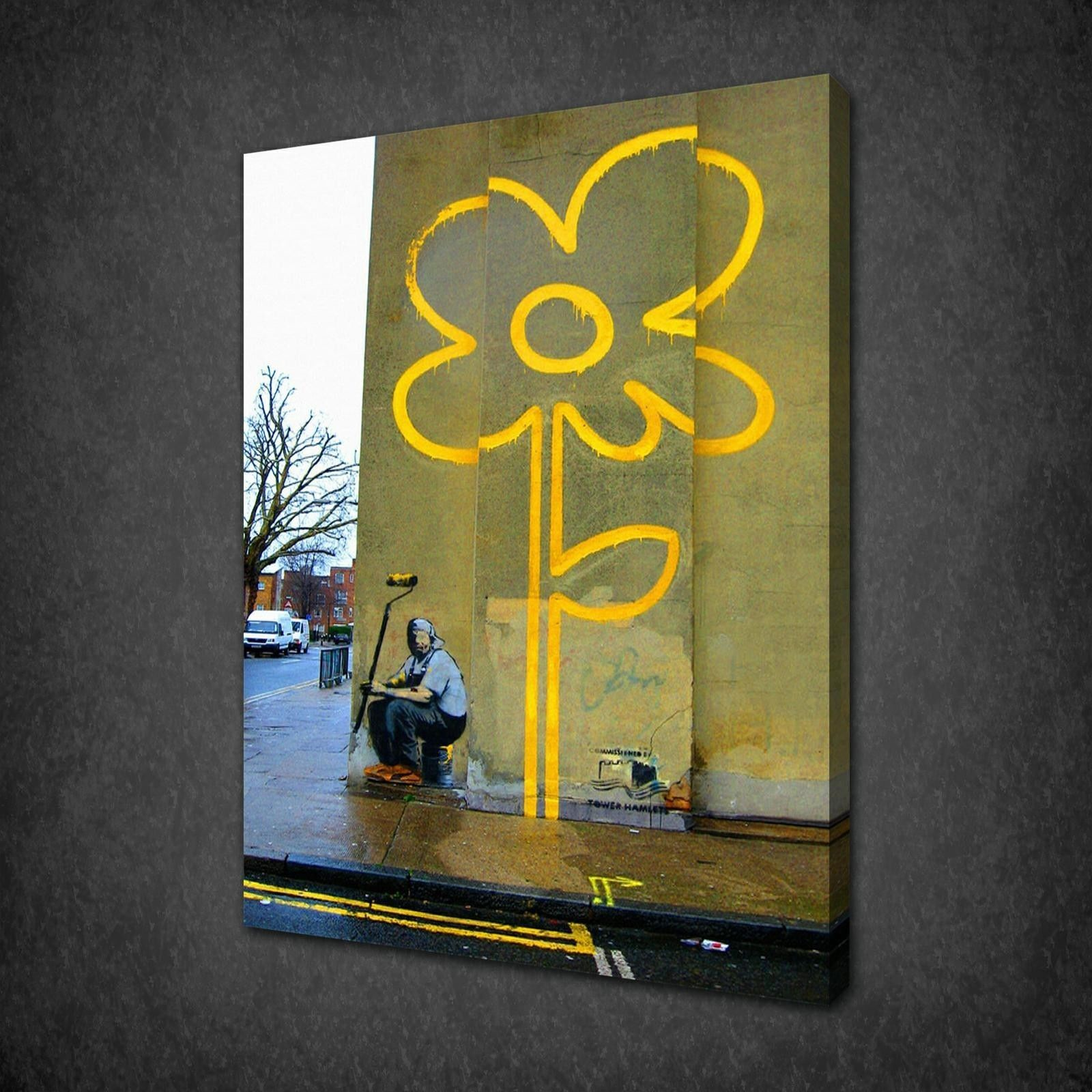 banksy archives canvas print art banksy yellow flower canvas wall art pictures print free uk p p variety of sizes