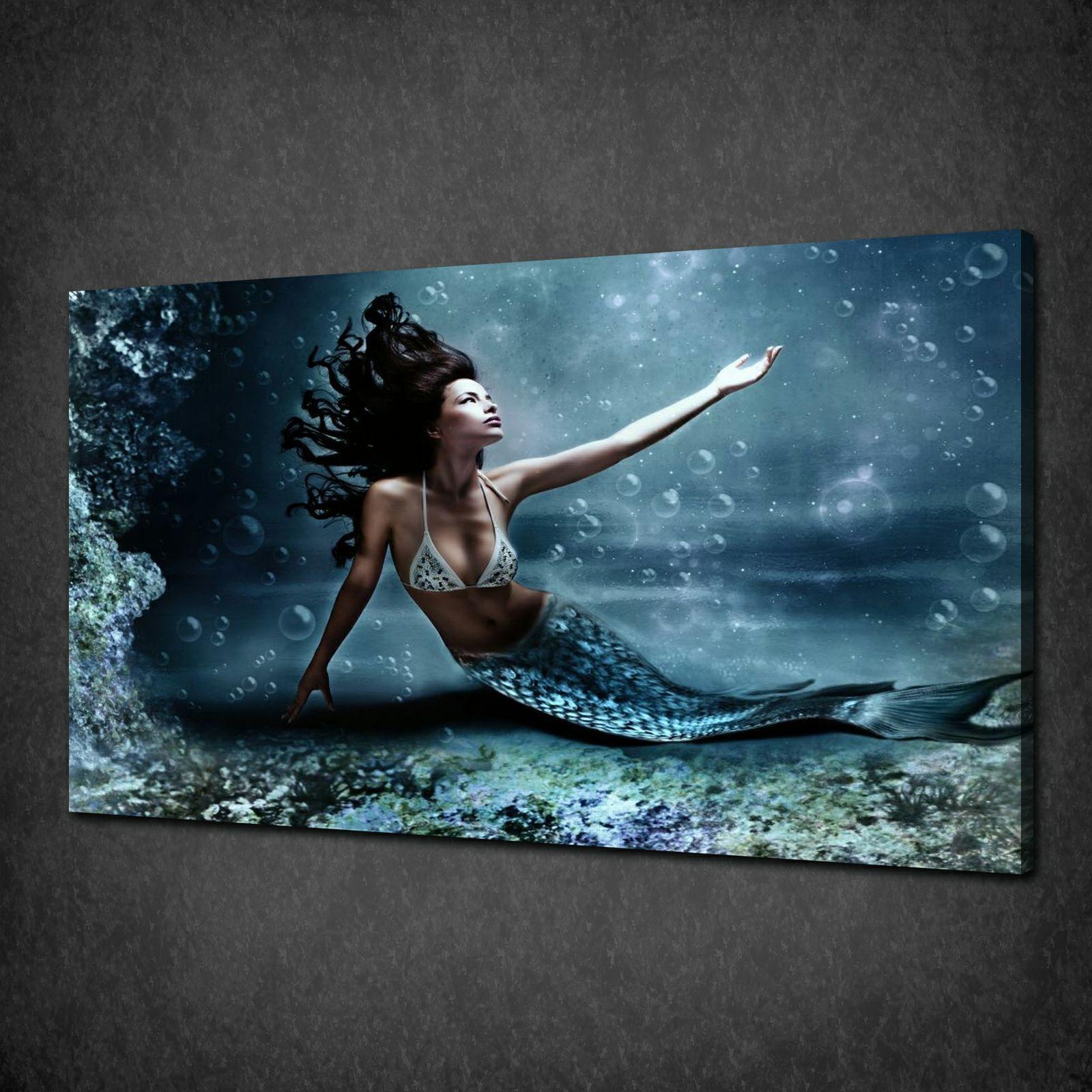 Beautiful mermaid blue sea modern canvas print picture wall art