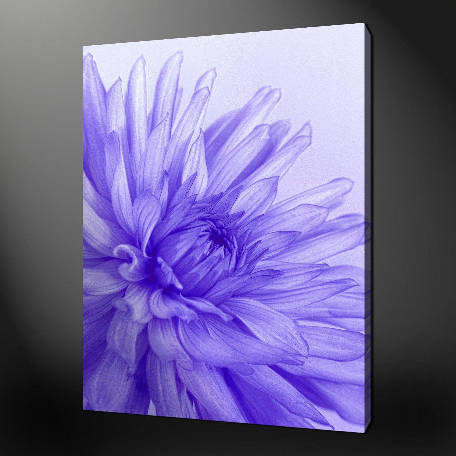 BLUE PURPLE FLOWER CANVAS WALL ART ...