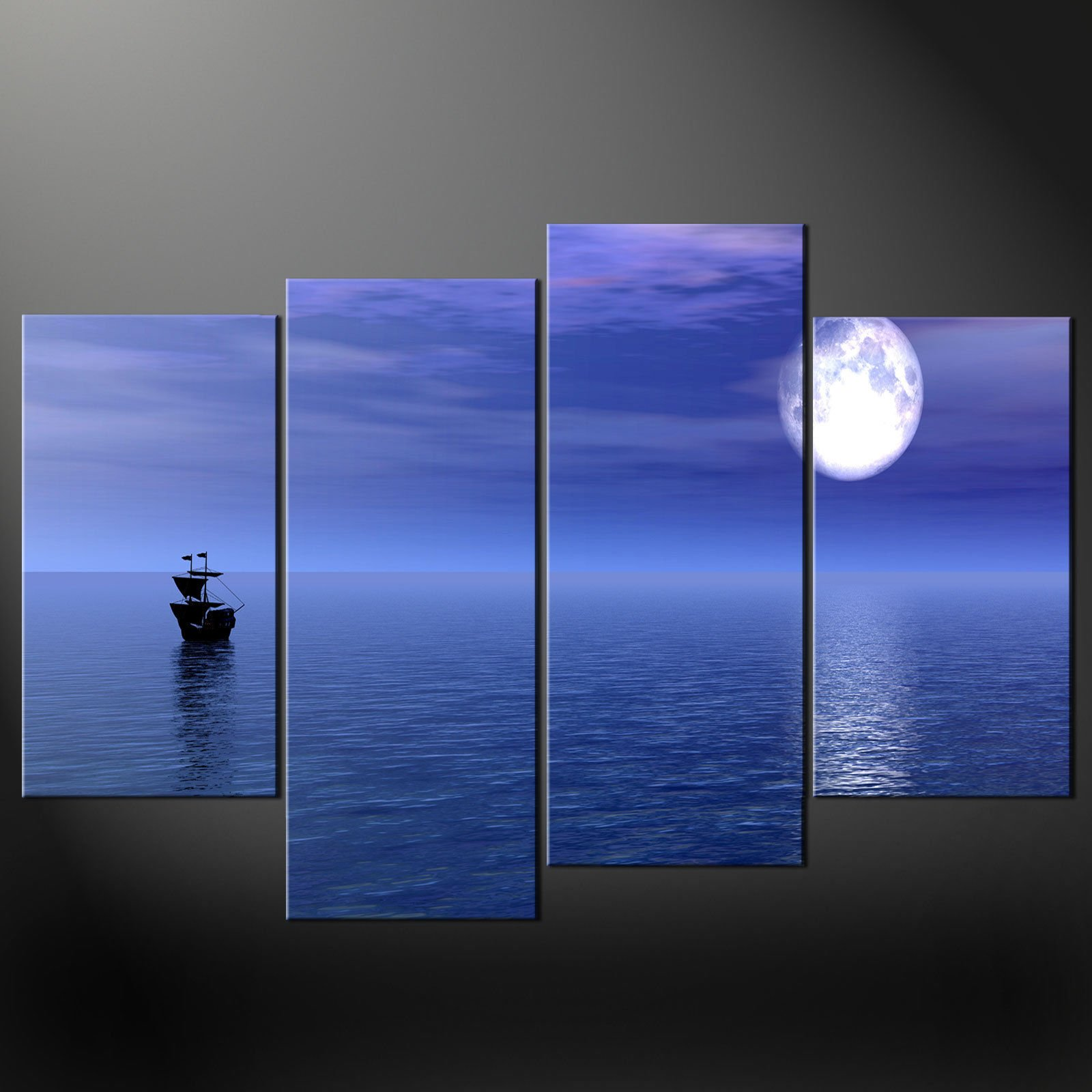 BLUE-SEA-SHIP-CANVAS-WALL-ART-PICTURES-PRINTS-LARGER-SIZES-AVAILABLE