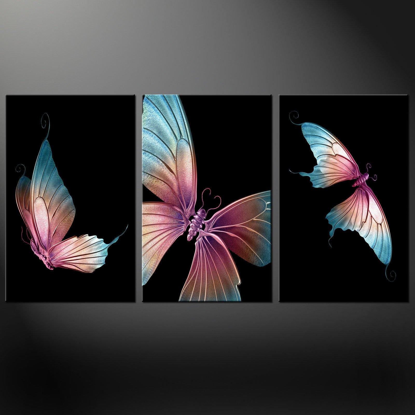 butterflies stunning  panels modern canvas print picture wall  - butterflies stunning  panels modern canvas