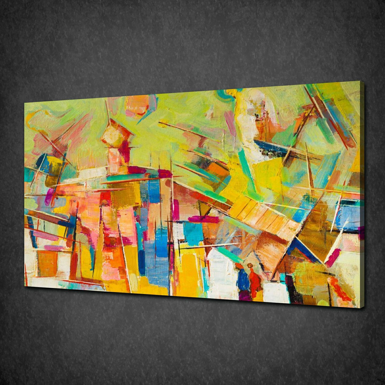 Colourful oil painting abstract canvas