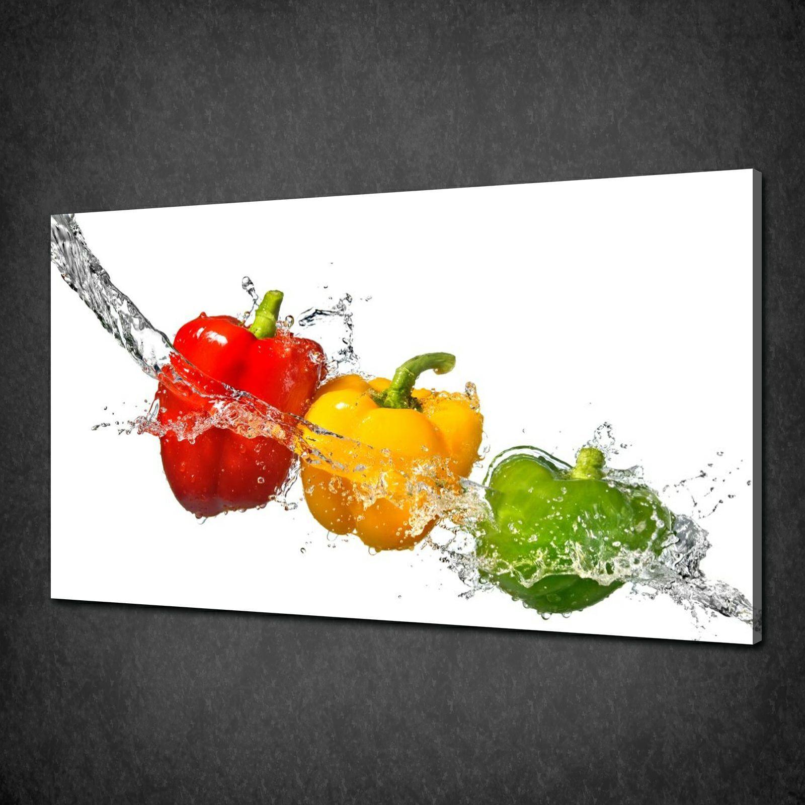 Kitchen Art Colourful Peppers Splash Kitchen Art Canvas Print Picture Poster