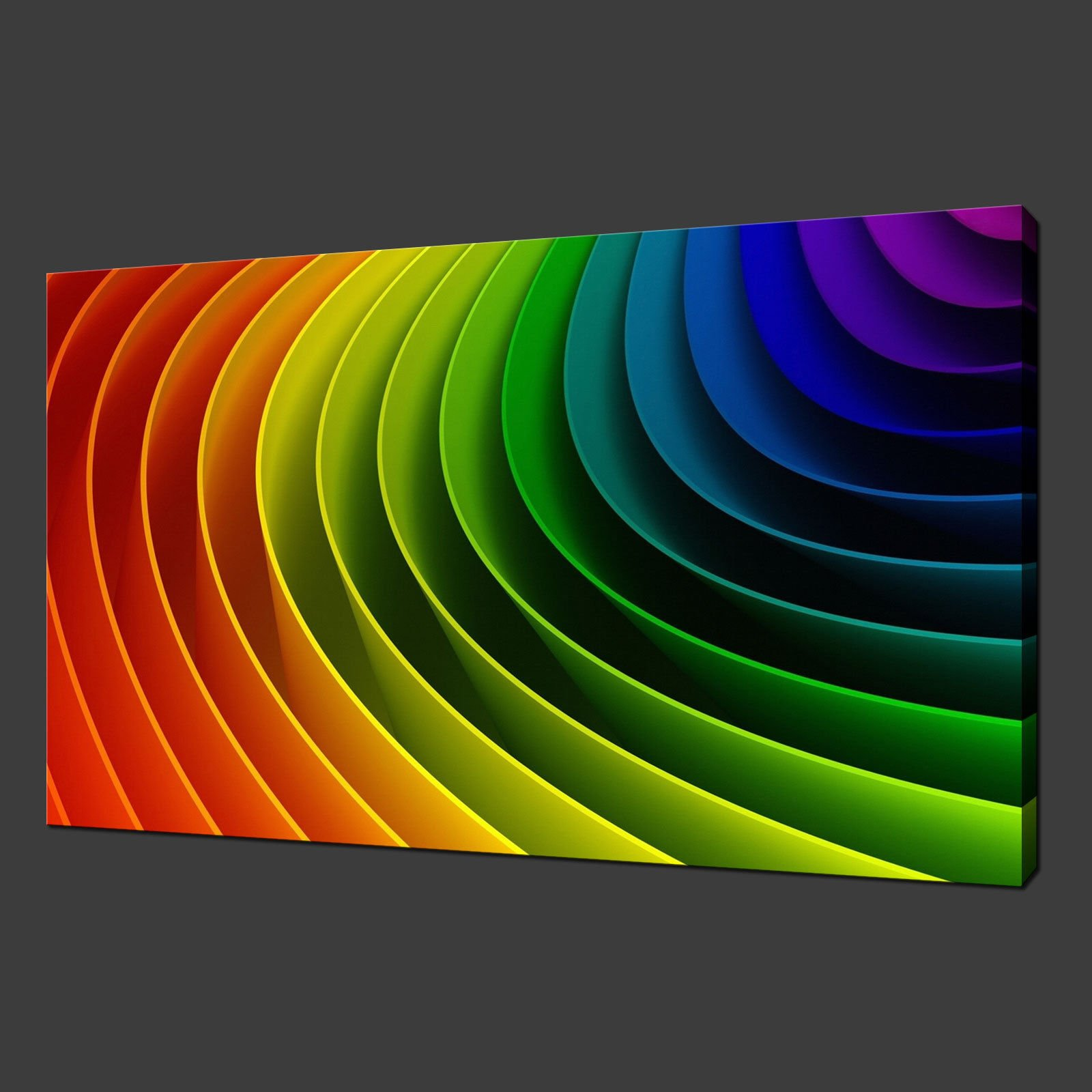 COLOURFUL RIBBONS CANVAS PICTURE PRINT