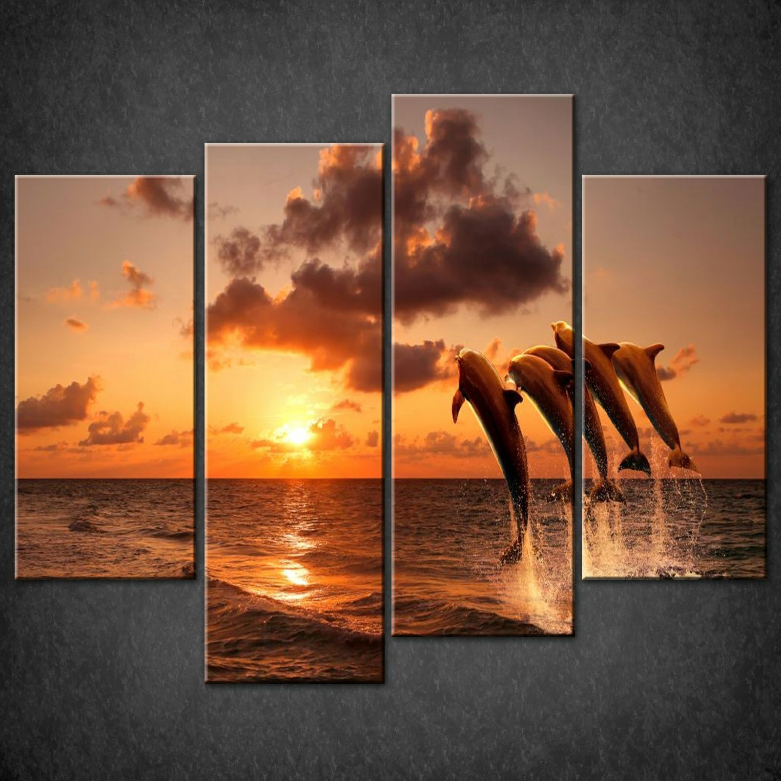 DOLPHINS-SUNSET-SPLIT-CANVAS-WALL-ART-PICTURES-PRINTS