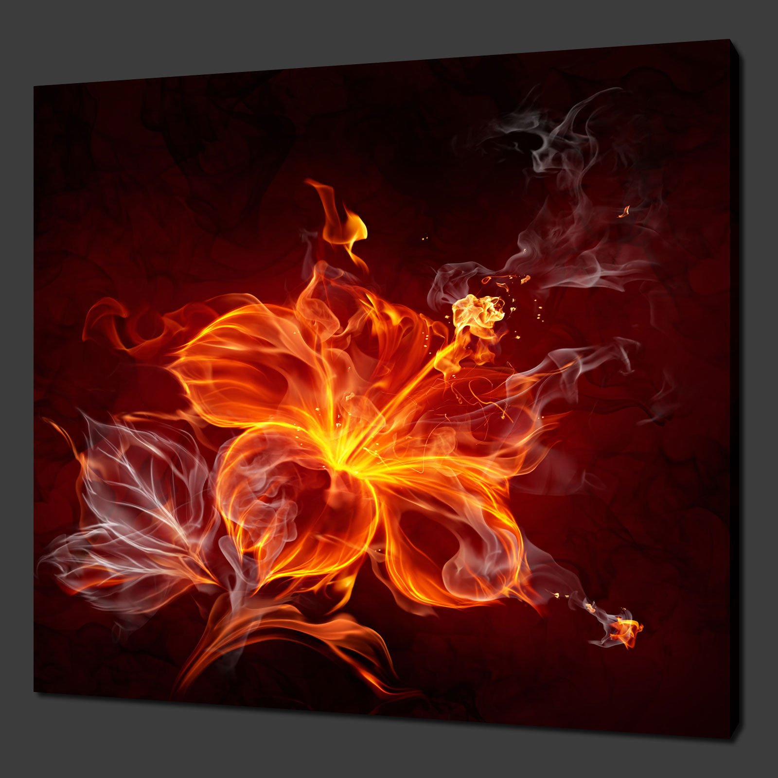 FIRE LILY FLOWER ABSTRACT CANVAS PICTURE PRINT