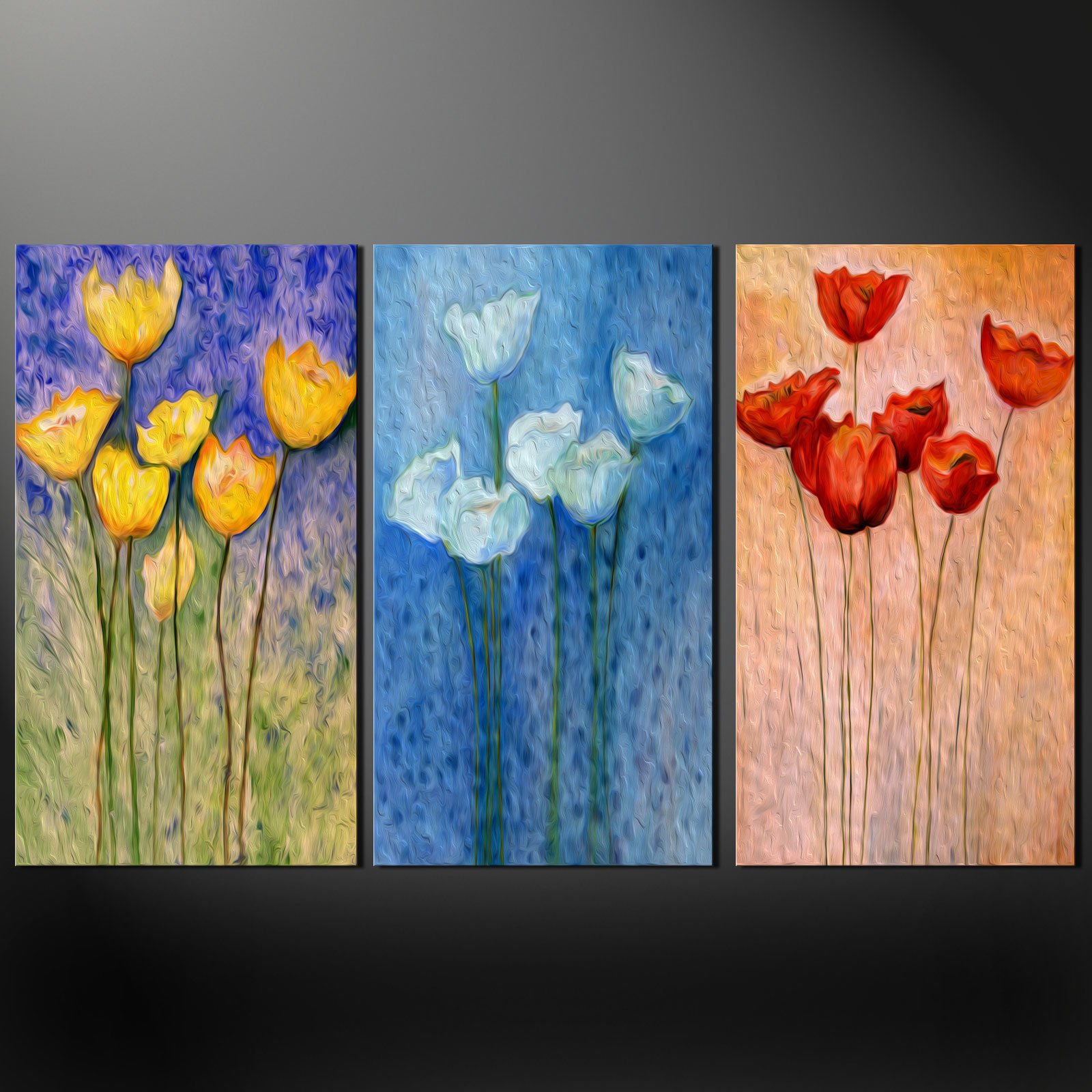 floral design poppies 3 panels split canvas wall art pictures prints free uk pp