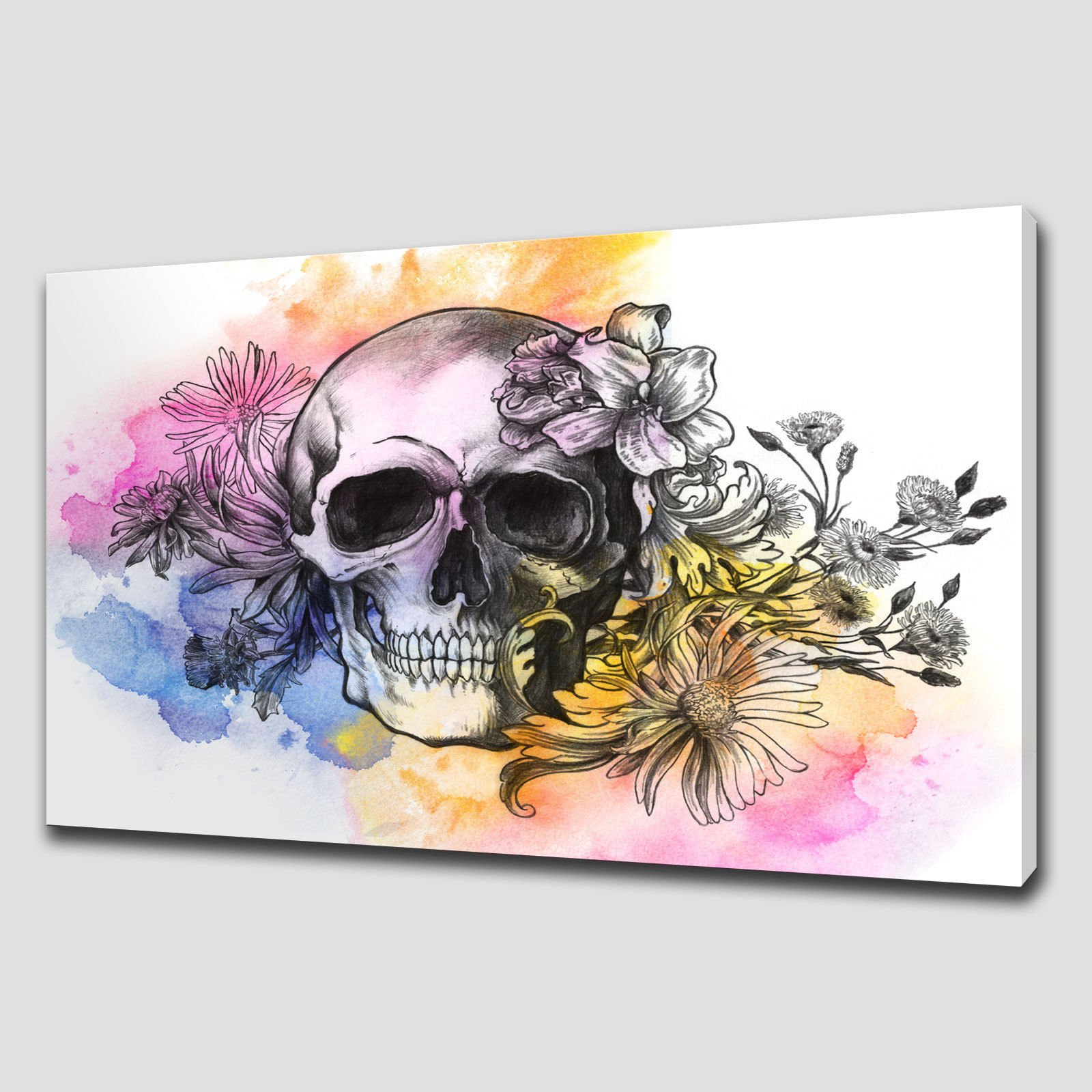 FLORAL SKULL LARGE CANVAS WALL ART Canvas Print Art