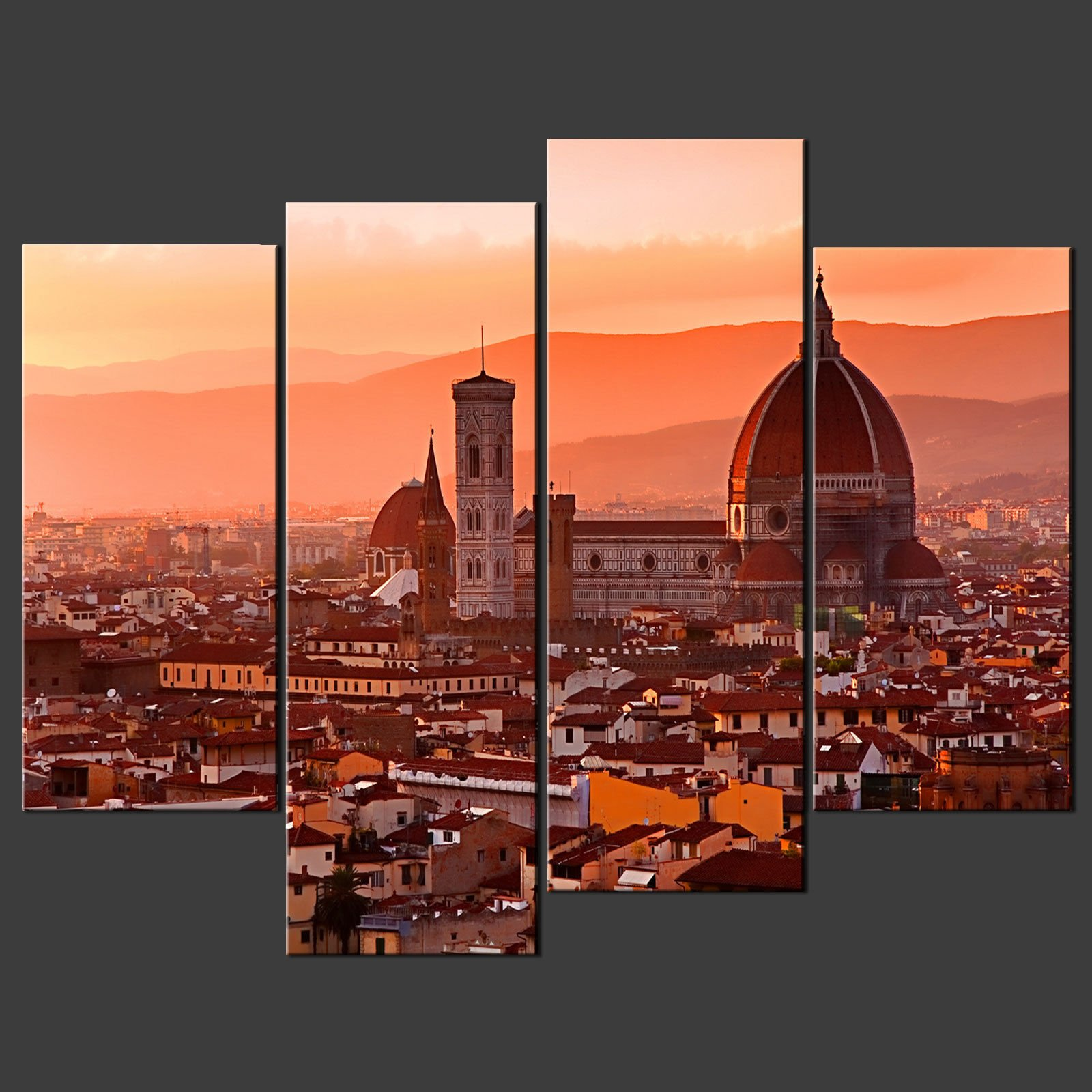 FLORENCE SUNSET ORANGE SET CANVAS WALL ART PICTURE PRINT LARGER SIZES AVAILABLE