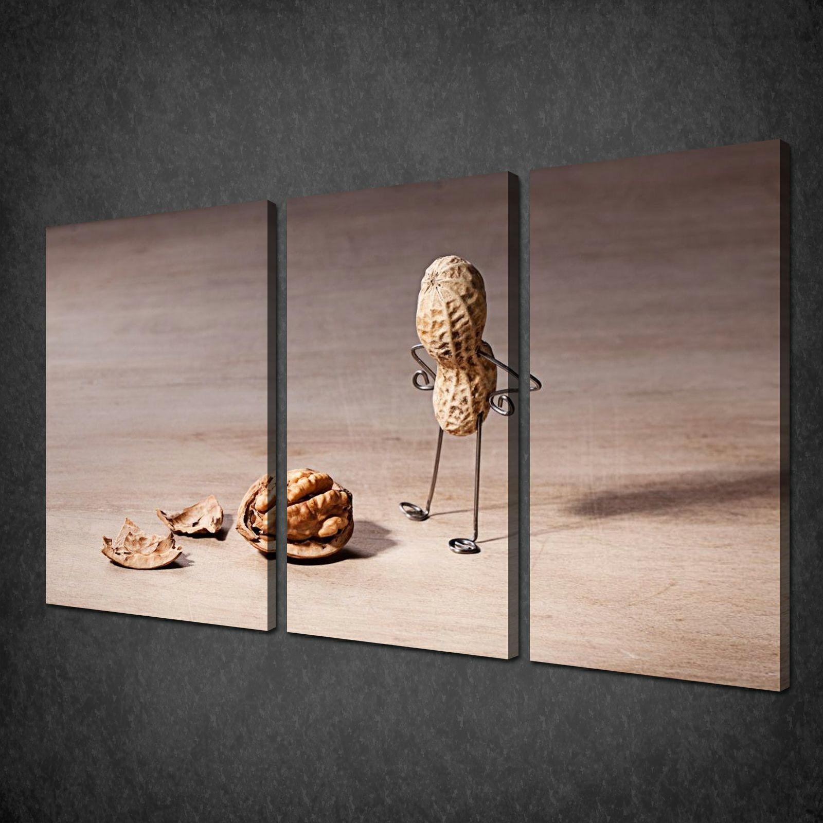 FUNKY PEANUT KITCHEN DESIGN 3 PANELS CANVAS PRINT PICTURE WALL ART FREE UK  Pu0026P