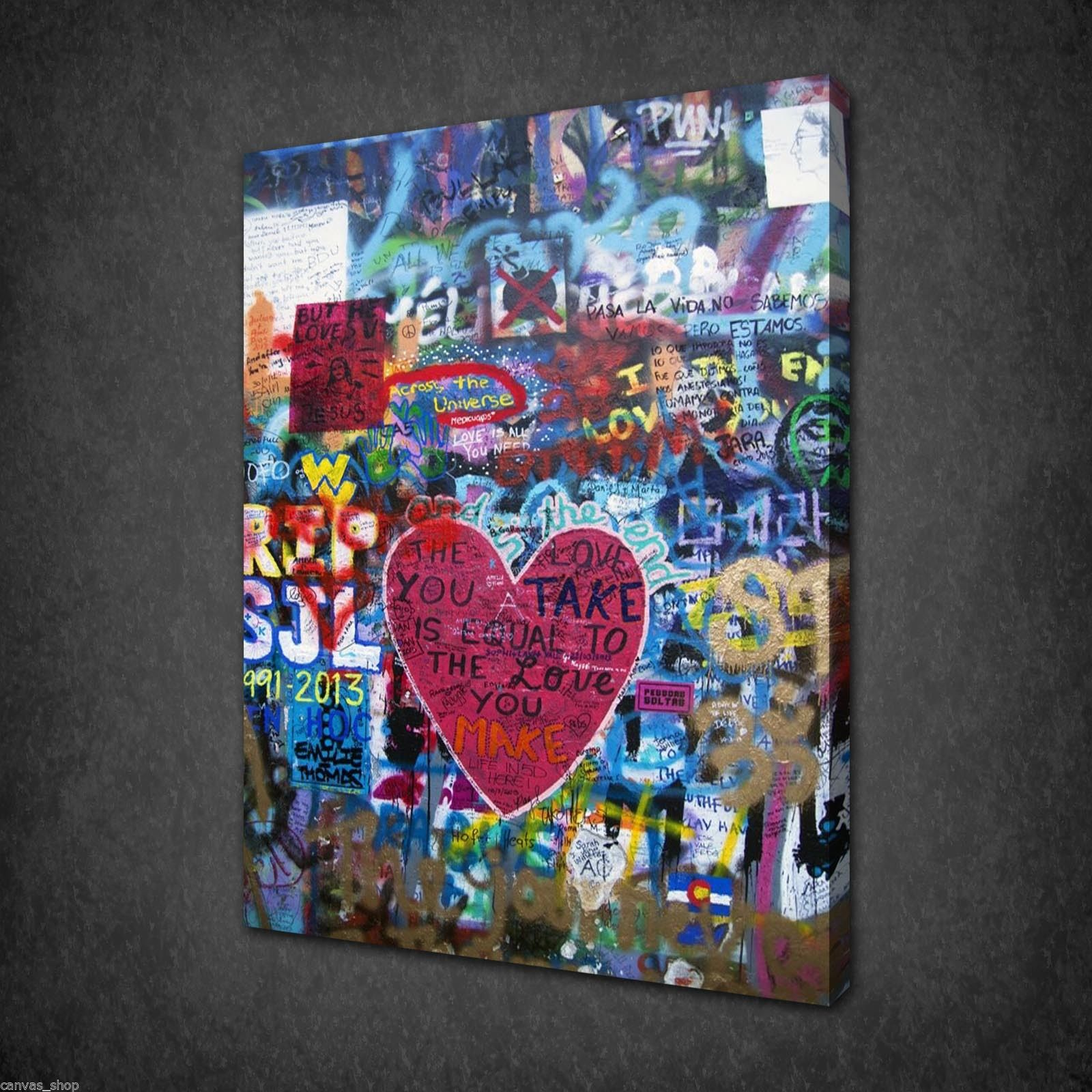Graffiti wall heart urban street modern art canvas