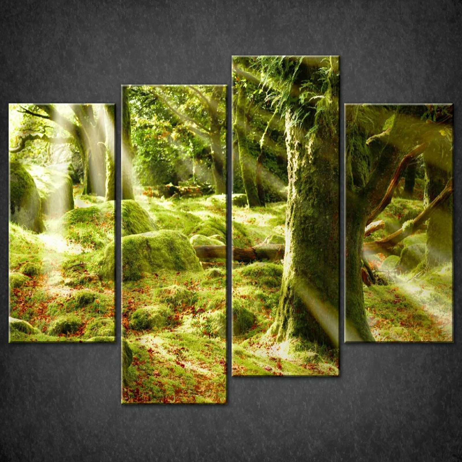 GREEN FOREST RAYS SPLIT CANVAS WALL ART ...
