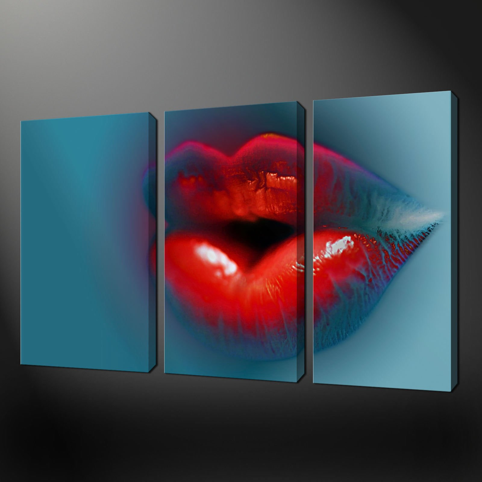 Abstract Canvas Wall Art hot lips abstract three panels split canvas wall art pictures