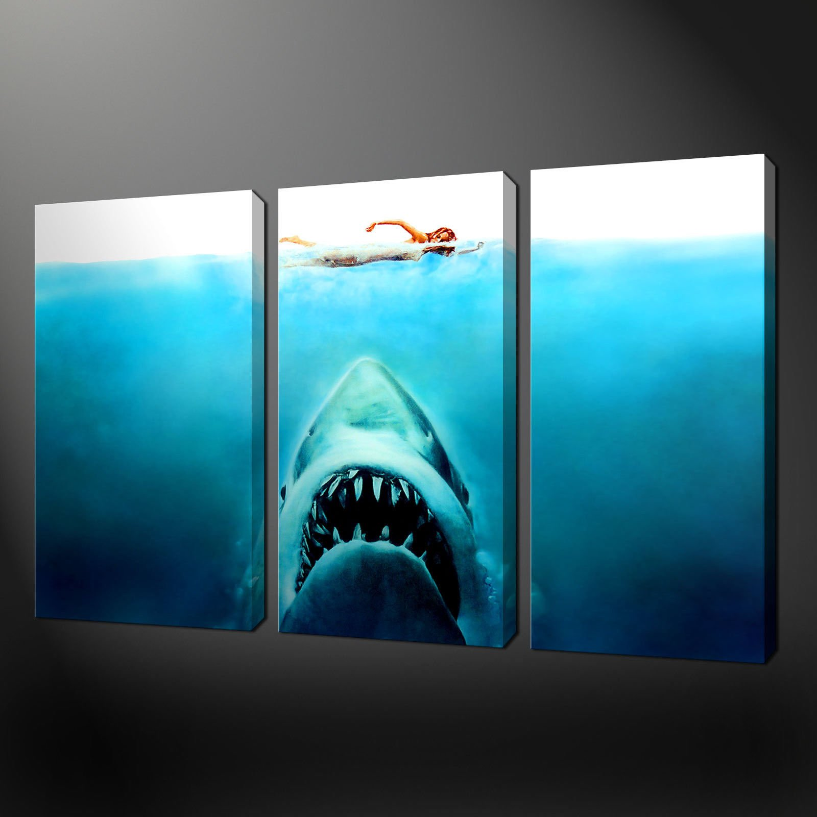 Wall Art Split Canvas : Jaws three panel split canvas wall art pictures prints