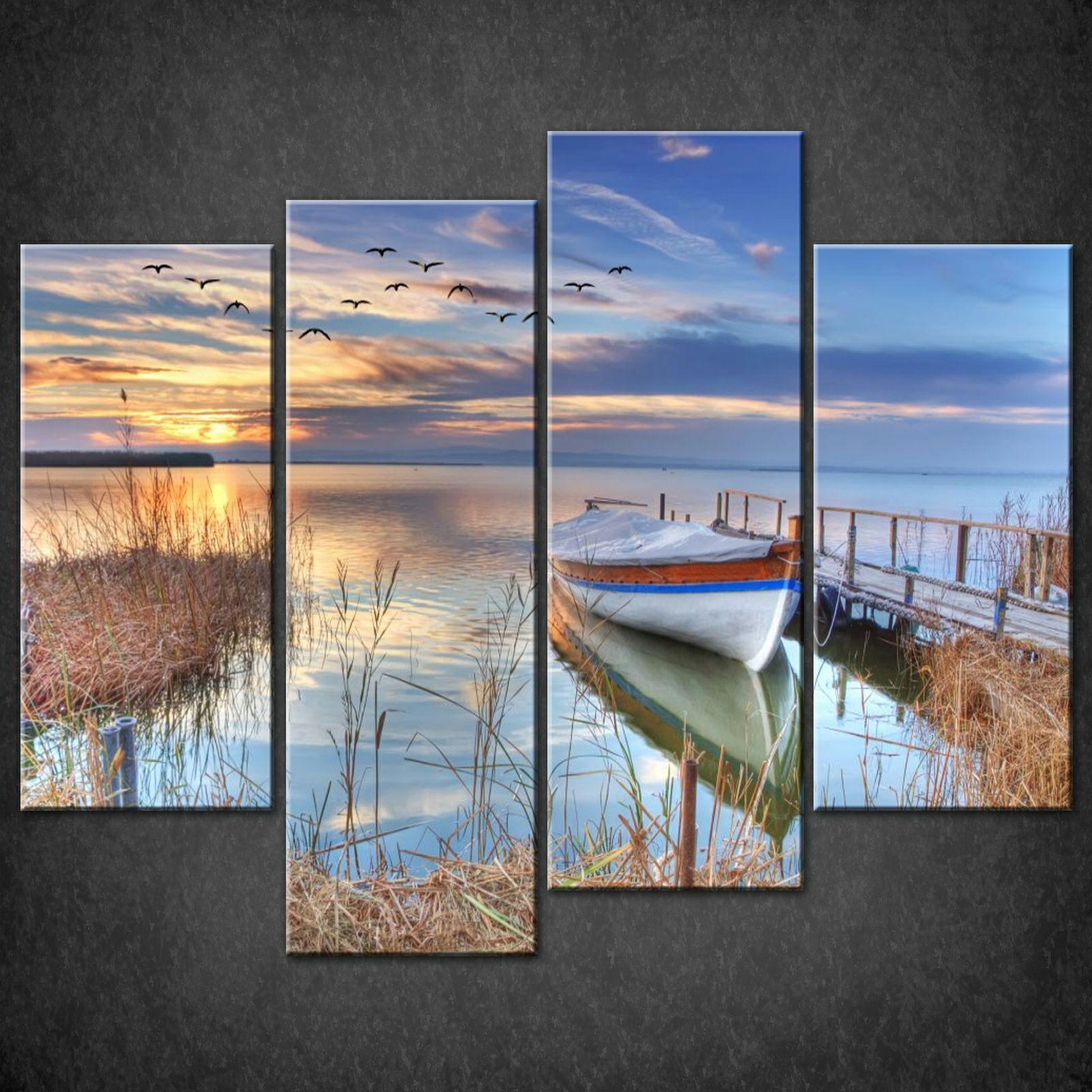 BLUE LAKE SUNSET CANVAS PRINT PICTURE