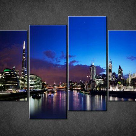 LONDON BLUE NIGHT SKYLINE SHARD SPLIT CANVAS PICTURE PRINT WALL ART