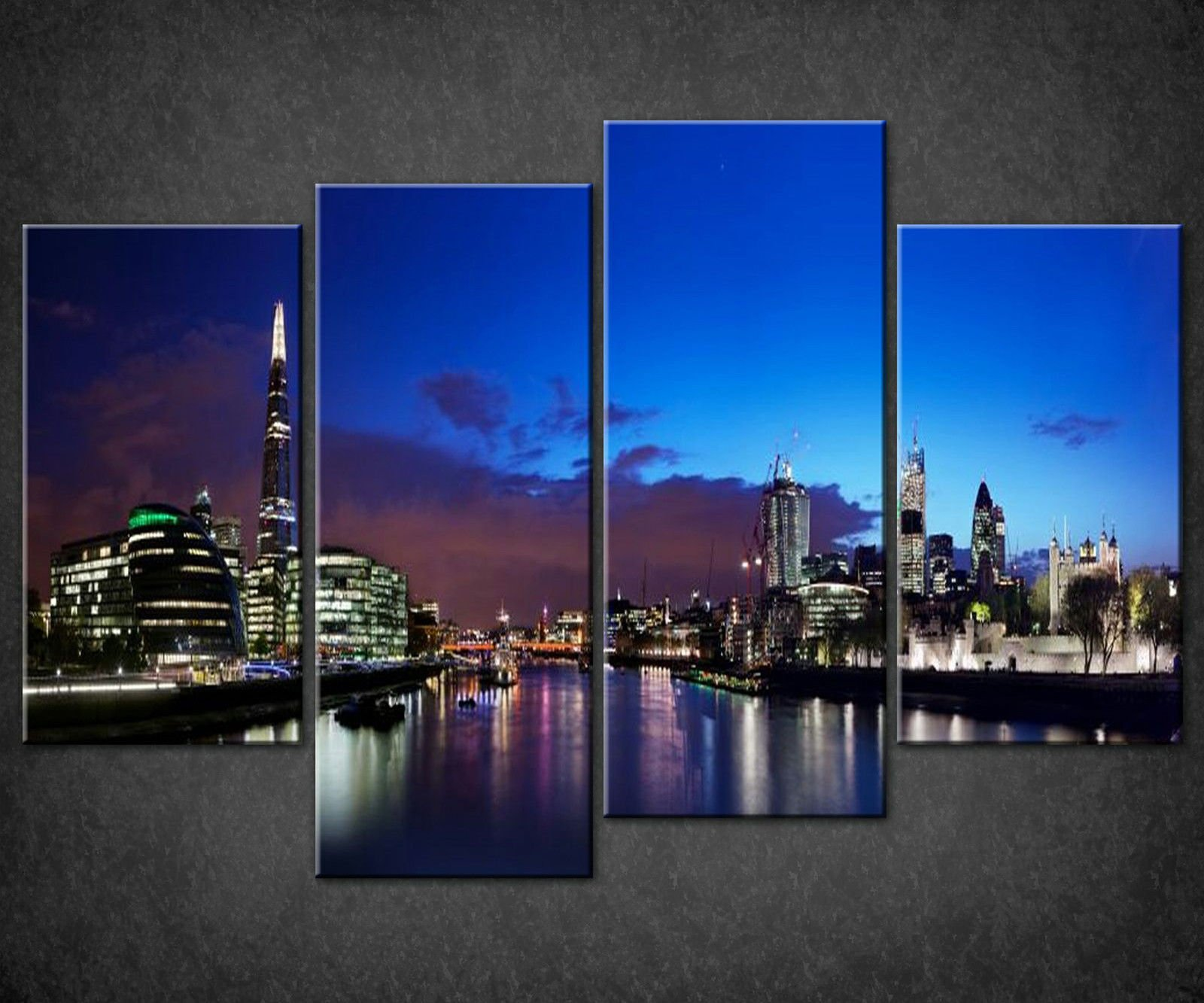 London Blue Night Skyline Shard Canvas Picture Print