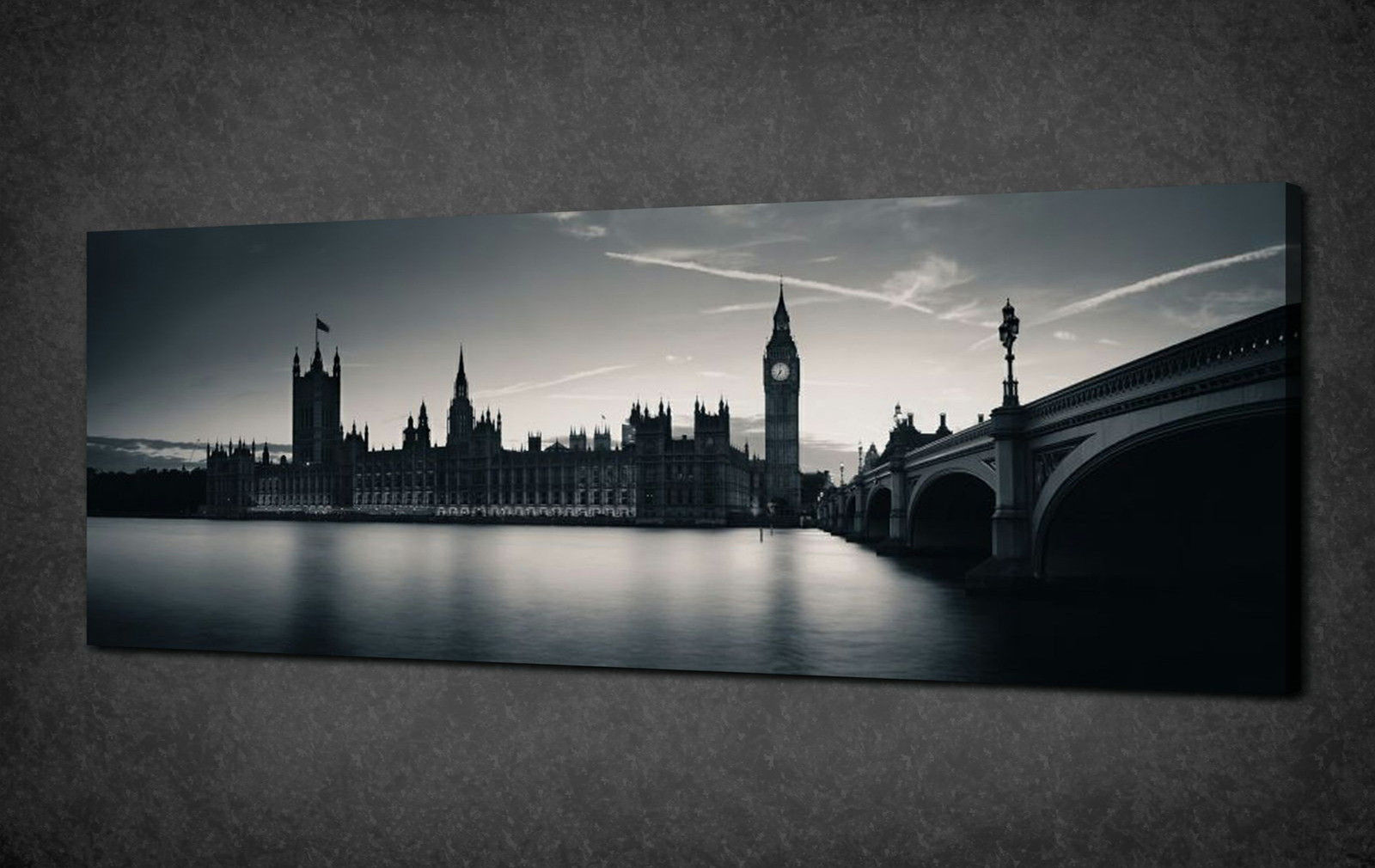 LONDON PARLIAMENT NIGHT PANORAMIC CANVAS PRINT ART POSTER PICTURE ...