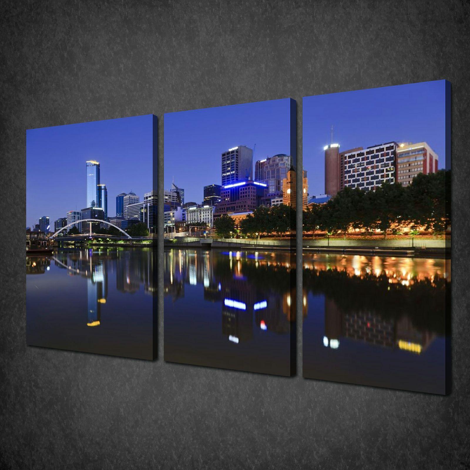 Melbourne city australia sky 3 panels canvas print picture wall