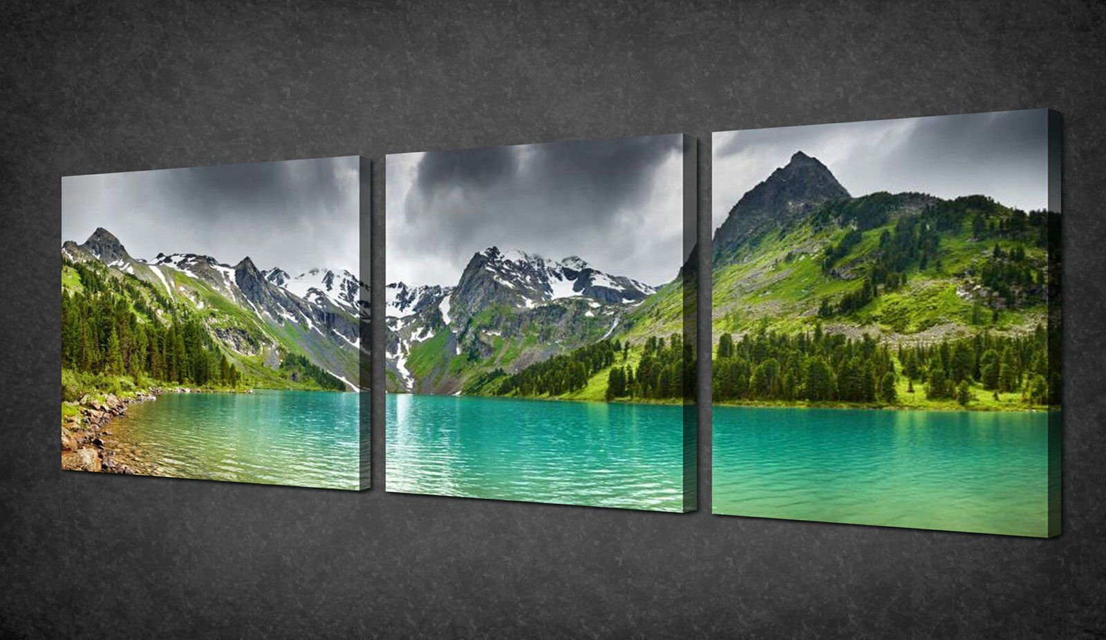 Perfect MOUNTAINS GREEN LAKE PANORAMA 3 PANELS CANVAS PRINT  Part 9