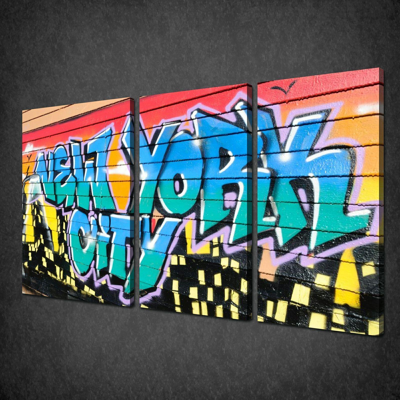New york city graffiti 3 panels canvas