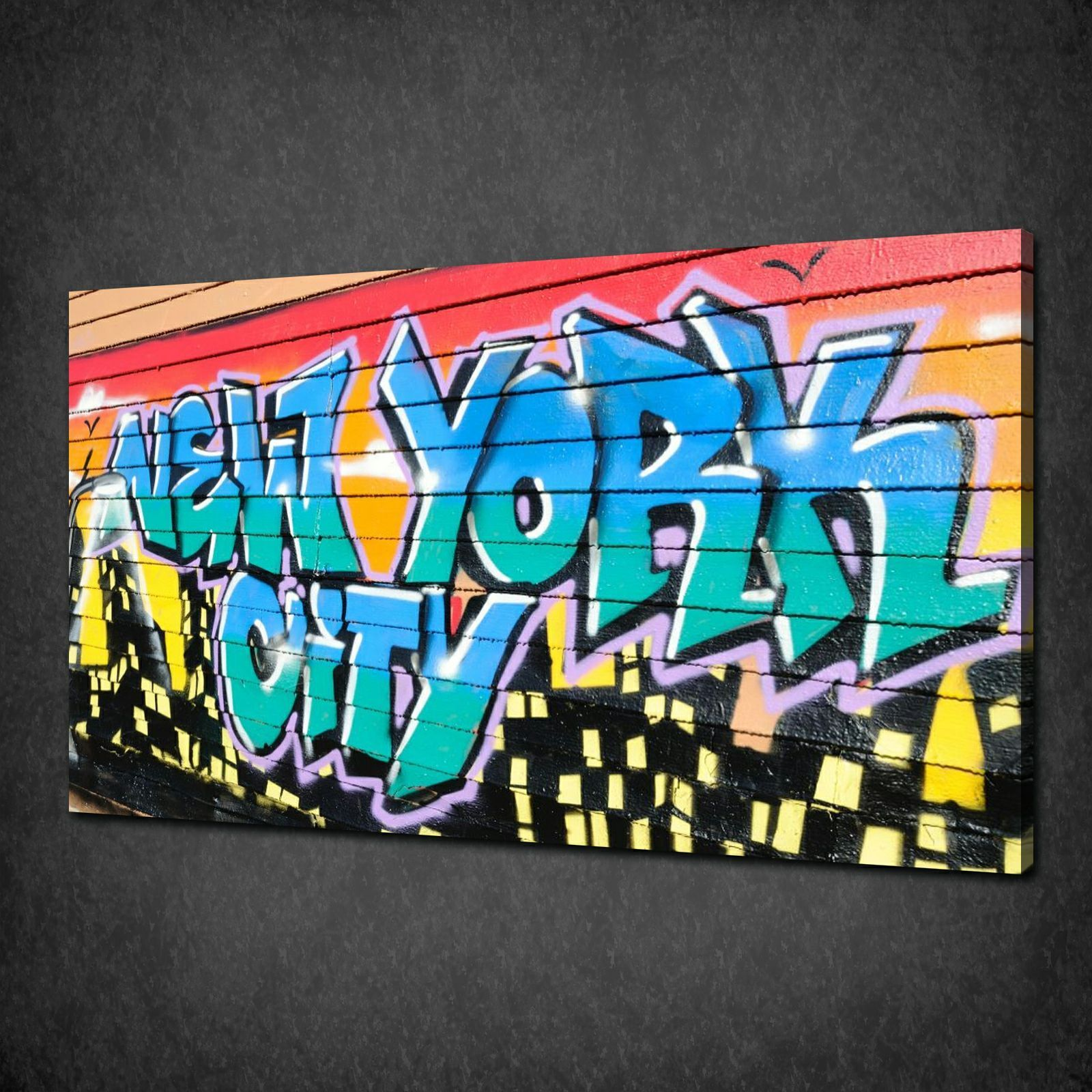 New york city graffiti wall modern canvas print picture wall art free uk pp