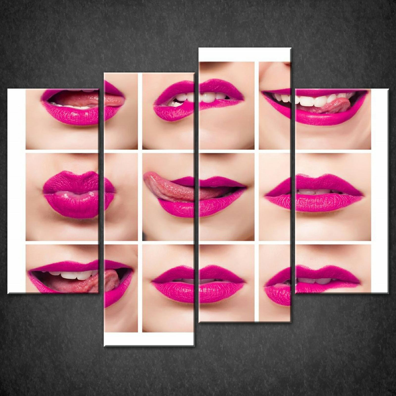 PINK LIPS CANVAS PRINT PICTURE WALL ART