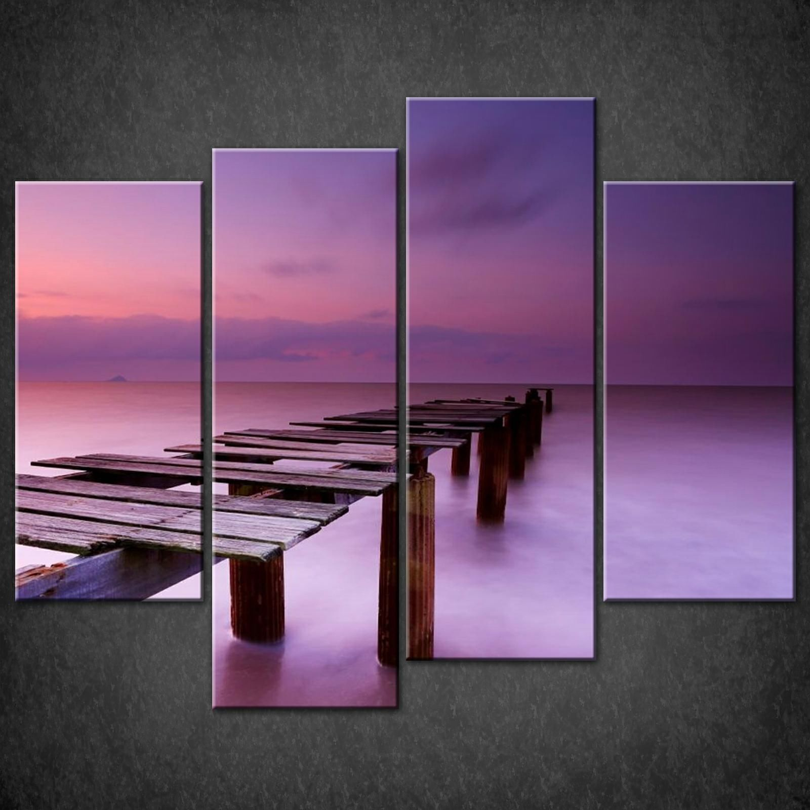 Wall Decor Prints Canvas : Purple sky dock canvas wall art pictures prints decor