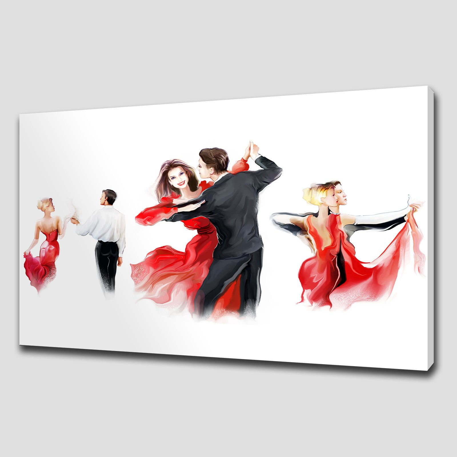 RED ABSTRACT DANCERS LARGE CANVAS WALL ART PICTURE PRINT HOME DECOR