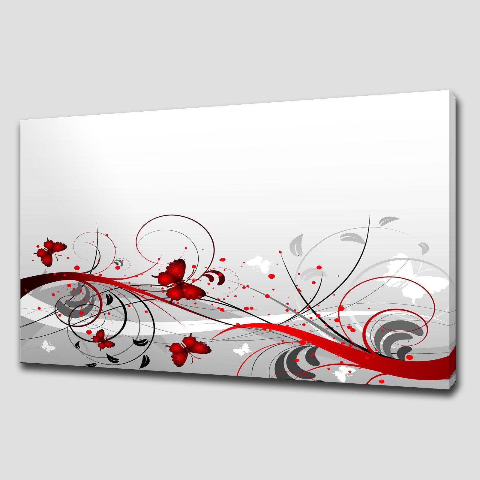 Wall Art Canvas Red : Red abstract foliage large canvas wall art picture print