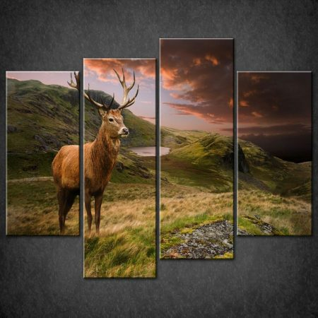 RED-DEER-SUNSET-SPLIT-CANVAS-WALL-ART-PICTURES-PRINTS-LARGER-SIZES-AVAILABLE-121487751812