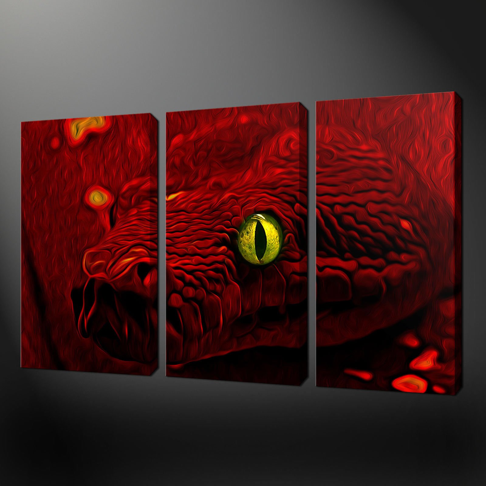 Wall Art Canvas Red : Red snake painting style canvas wall art pictures print